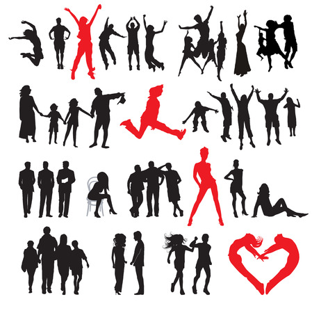 business jump: Silhouettes of people: business, , sport, fashion, love
