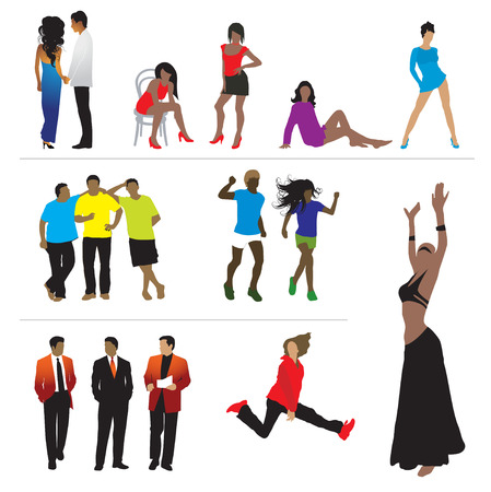 Silhouettes of people: business, sport, fashion, love Stock Vector - 2531198
