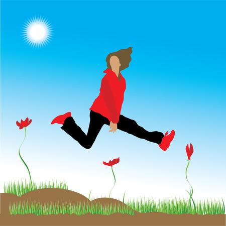The woman runs on a flower meadow Stock Vector - 2531230