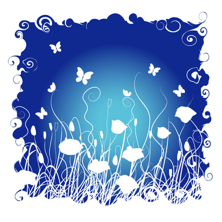 Grass and flowers on a background of the night sky Stock Vector - 2531194