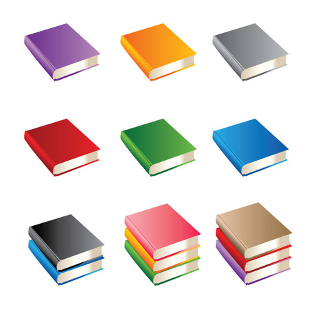 Set of books of various color Vector