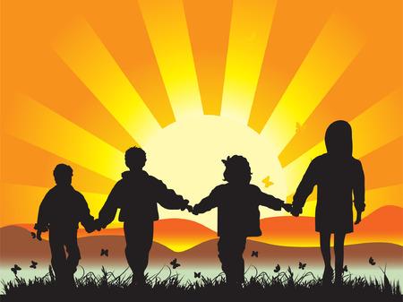 joined: Happy children walk on meadow having joined hands