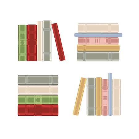 Set of books on a book shelf Vector