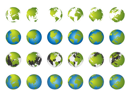 World map, 3D globe series Illustration