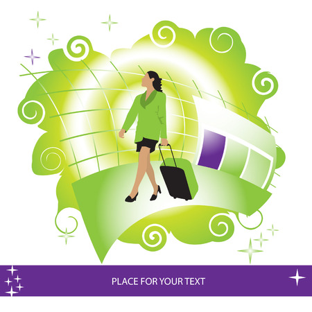 Woman with suitcase at the airport, place for your text Vector