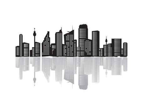business life line: City landscape, silhouettes of houses black  Illustration