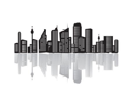 urban life: Ciudad paisaje, siluetas de las casas negro