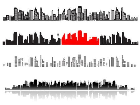 Città del paesaggio, sagome di case nero  Vettoriali