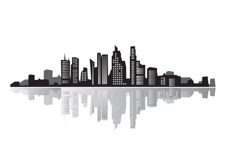 City landscape, silhouettes of houses black  Illustration