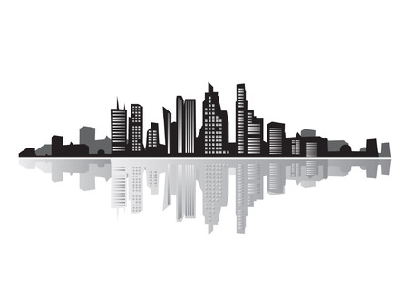 City landscape, silhouettes of houses black  Vector