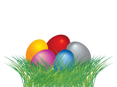 Colored easter eggs in green grass with white background Vector