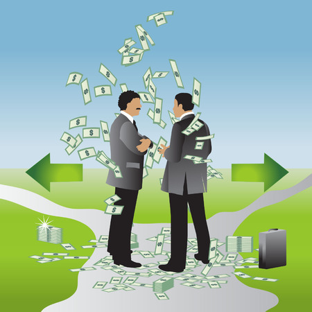 Businessman with a suitcase of money chooses the path - left or right Stock Vector - 2558665