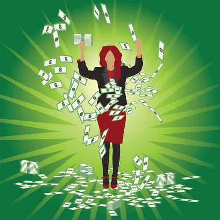Business woman catches money Vector