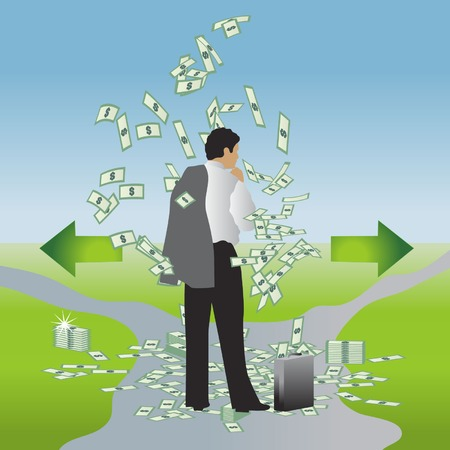 Businessman with a suitcase of money chooses the path - left or right Vector