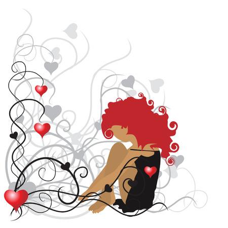 Curly girl, valentine frame Vector
