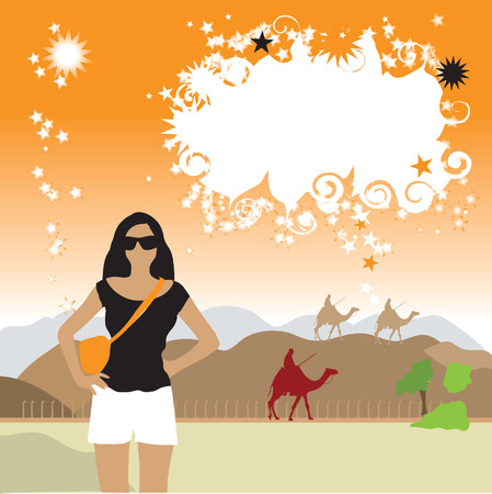 Tourist in desert, frame with place for your text Vector