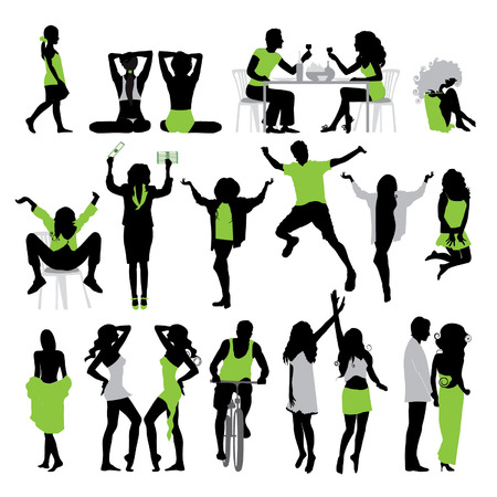 Silhouettes of people: business, , sport, fashion, love Stock Vector - 2558694