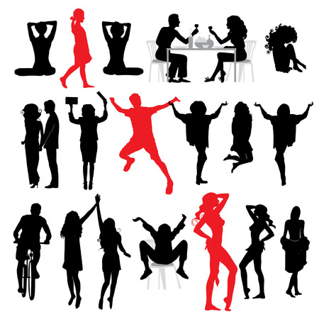 Silhouettes of people: business, , sport, fashion, love Stock Vector - 2558695