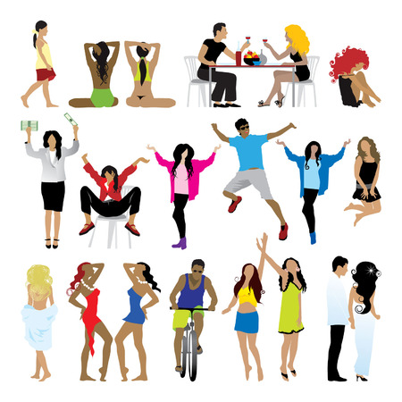 Silhouettes of people: business, , sport, fashion, love Stock Vector - 2558675