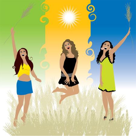 Beautiful girls dance on meadow Vector