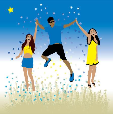 oat field: Boy and girls dance on a meadow Illustration