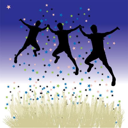 oat field: Peoples dance on meadow, night sky with stars