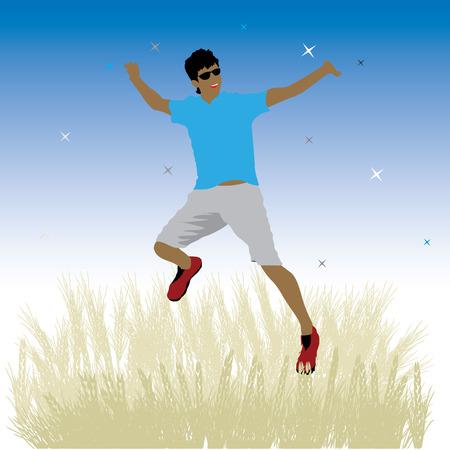 Boy dance on meadow, night sky Vector