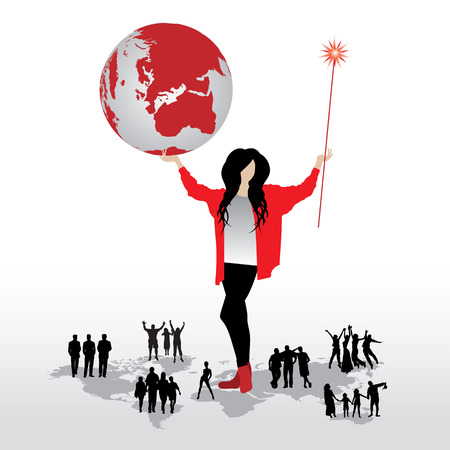 Woman with globe, silhouettes of people on word map Vector