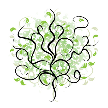 Tree silhouette, branch green  Vector