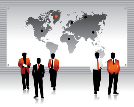 merger: Business peoples silhouettes, world map