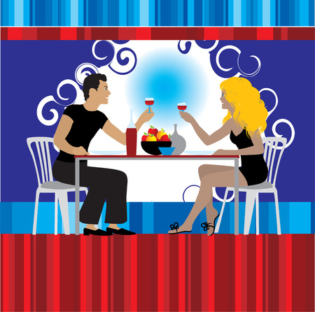 Couple drink wine at restaurant Vector