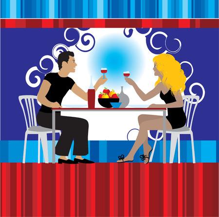 night bar: Pareja beber vino en el restaurante  Vectores