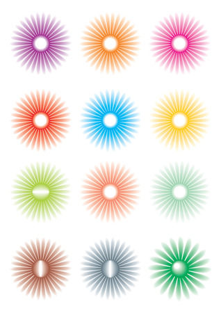Flowers of different color, icons Vector