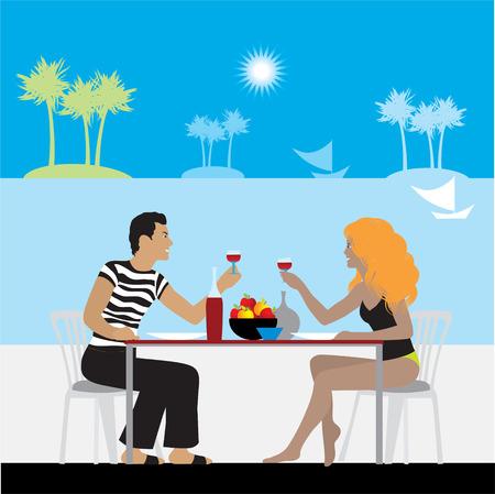 Couple in cafe on a beach Vector