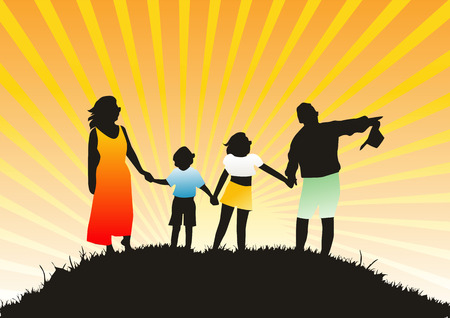 Happy family on nature Vector