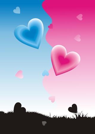 Valentine card. Heart shape Vector