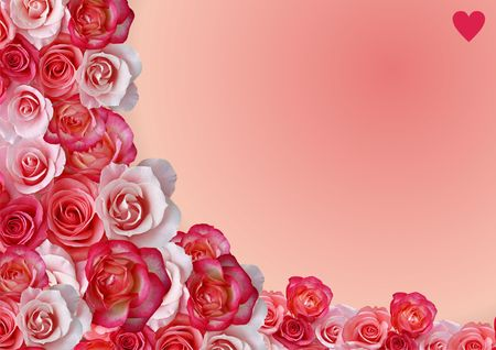 Abstract border, flowers, roses background photo