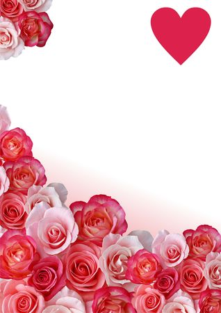 hearts and roses: Abstract border, flowers, white and rose background