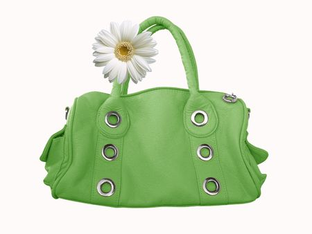 Modern green female bag on a white background  with flower photo