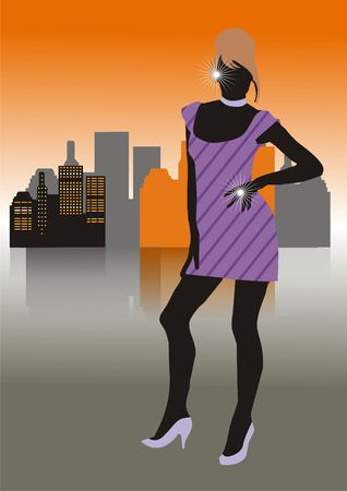 The girl in a short dress and brilliants in the street the big city Stock Photo - 2577005