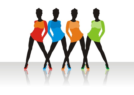 Beautiful girls of model pose on a podium Vector