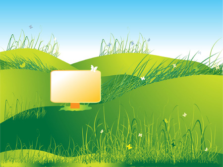 Meadow green, summer, grass and butterflies Stock Vector - 2595553