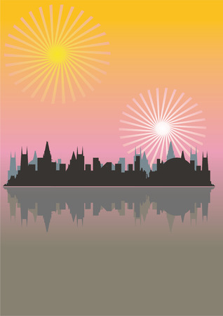Megacity in beams of the coming sun, sunset Vector