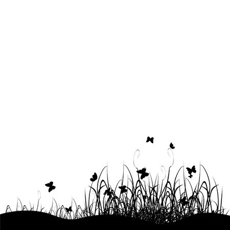 horizon over land: Grass silhouette black, background