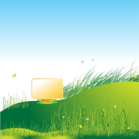 Meadow green, summer, grass and butterflies Stock Vector - 2606418