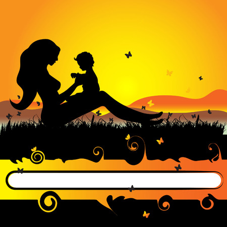 Mother with  on the nature, black silhouette Vector