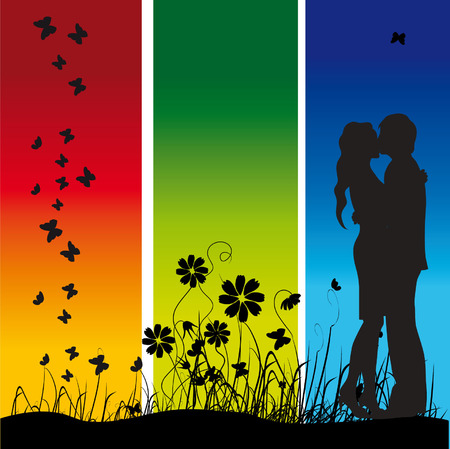 Couple kisses on a meadow, black silhouette Vector