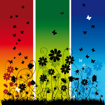 Abstract summer background, flowers and butterflies Illustration