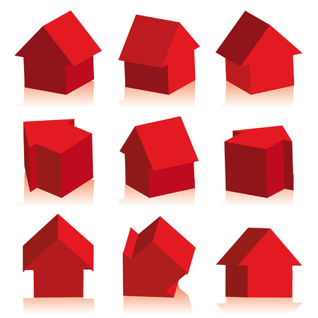 Collection of houses red, icon Stock Vector - 2615346