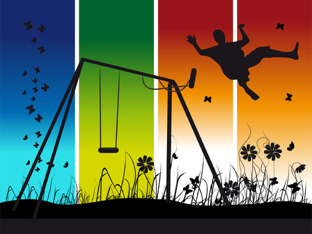 People on nature, summer, swing, silhouette Vector